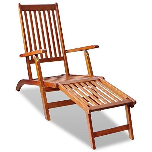 Vidaxl sedia a sdraio da esterno pieghevole legno di acacia con poggiapiedi