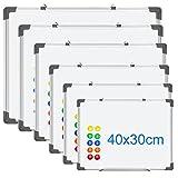 SIENOC Whiteboard Magnetwand mit Alurahmen Magnetisch Whiteboard und Magnettafel Weiß lackiert (1 Stück 60*45cm)