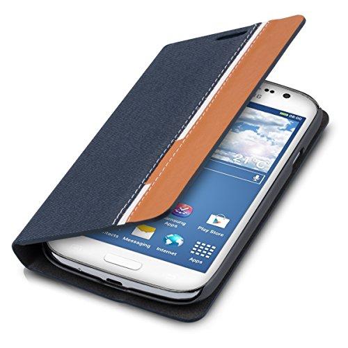 kwmobile Custodia Flip Cover per Samsung Galaxy Grand Neo con Design Righe interrotte - Custodia Ecopelle Borsa Smartphone in Blu Scuro/Marrone/Bianco