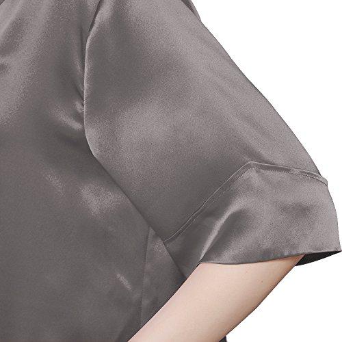 LILYSILK Chemise de Nuit Soie de Mûrier Femme Mi-cuisse Col V Manches 1/2 22 Momme Gris Foncé