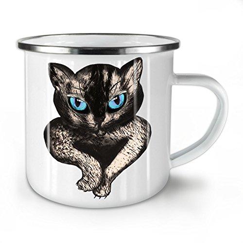 Wellcoda Blau Augen Niedlich pelzig Katze Emaille-Becher, Tier - 10 Unzen-Tasse - Kräftiger, griffiger Griff, Zweiseitiger Druck, Ideal für Camping und Outdoor - Persischen Becher