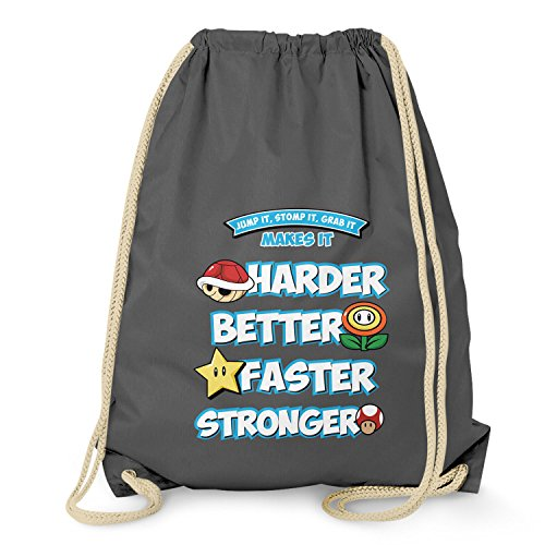 NERDO - Harder Better Faster Stronger - Turnbeutel, grau