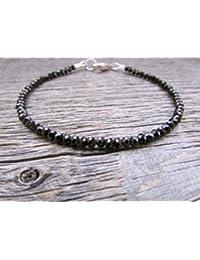 Black Spinel Bracelet, Spinel Bead Bracelet, Stack Bracelet, Vegan Bracelet, Chakra Bracelets, Energy Bracelet, Black Bead Bracelet 2.5-3mm 7 inches