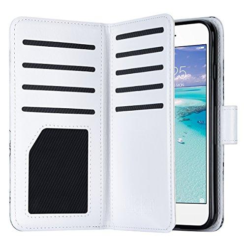 iPhone 7 Hülle, ULAK Flip Case Cover Stoßfest TPU Case Lederhülle mit Ständer Schutzhülle für Apple iPhone 7 4.7 Zoll mit 9 Kartenschlitz (Rosé Gold) Marmor