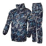 Conjunto de chaqueta impermeable hombre / mujer Impermeable Chaqueta de lluvia y pantalón, traje de impermeable Pantalones de capa de lluvia de la motocicleta Set de engranajes de protección para el t