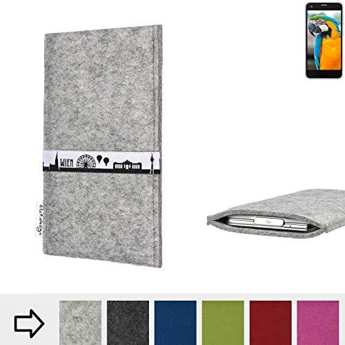 flat.design für Vestel V3 5040 Schutz Tasche Handyhülle Skyline mit Webband Wien - Maßanfertigung der Schutz Hülle Handytasche aus 100% Wollfilz (hellgrau) für Vestel V3 5040