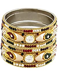 Pass Pass Stone Studded Designer Bangles For Women And Girls Set Of 6