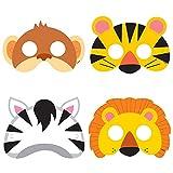 Unique Party - Maschere per Feste Festa a Tema Giungla Animale Confezione di 8, Multicolore, taglia unica, 52161