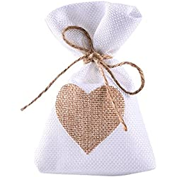 Bolsas de lino dibujo de corazón de lino tono beige - 12 unidades