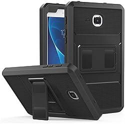 MoKo Samsung Galaxy Tab A 7.0 Etui Housse Robuste de Tout Protection, Couverture Avant et Protection d'écran intégré pour Tablette Samsung Galaxy Tab A 7.0 Pouces SM-T280/SM-T285 Modèle 2016, Noir