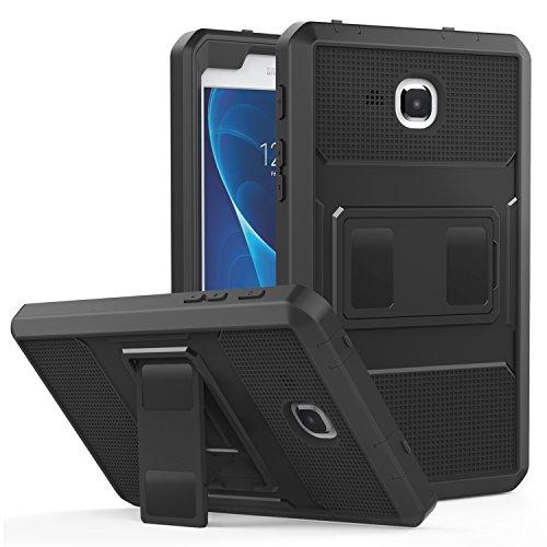 MoKo Samsung Galaxy Tab A 7 Hülle - [Heavy Duty] Ganzkörper-Rugged Hybrid Stand Cover Schutzhülle mit integriertem Displayschutz für Samsung Galaxy Tab A 7.0 SM-T280/SM-T285 2016 Tablet-PC, Schwarz