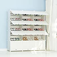PREMAG Plastic Portable Shoe Storage Organzier Tower, Wooden Pattern, Modular Cabinet Shelving for Space Saving, Shoe Rack Shelves for shoes, boots, Slippers