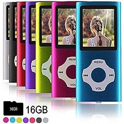 Ueleknight Lecteur MP3 MP4 avec Carte Micro SD 16G, (Bleu)