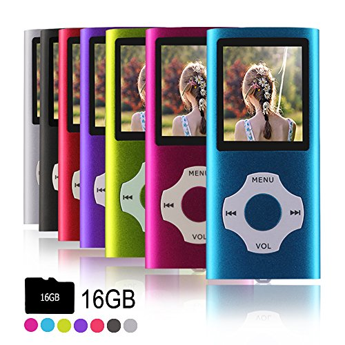 Ueleknight MP3-Player MP4-Player mit Einer 16G Micro SD-Karte, Wiedergabe 16GB Musik-Player Hi-Fi-Sound, tragbarer digitaler Musik-Player mit FM-Radio und Voice Recorder Funktion-Blau