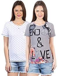 IRALZO Women's T Shirts Combo (Pack of 2)