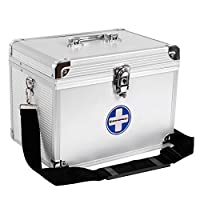 SONGMICS Lockable 2 Layer First Aid Case, capacity 14 L, Durable Aluminum Frame Medicine Storage Container box for Home, Travel Workplace JBC361S
