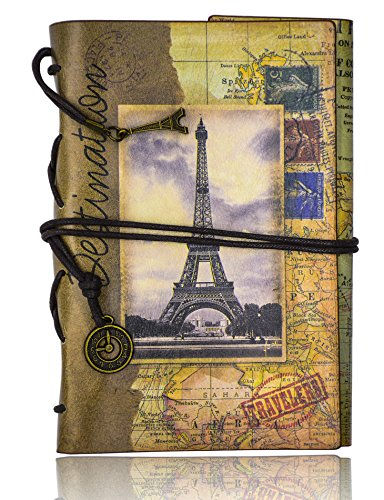 FX Vintage cuero de la secuencia Retro Cuaderno Diario Notebook PU Cubierta Hojas Sueltas Libreta y De Viaje Cuaderno (Gray-tower)