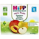 HIPP - Coupelles pomme pêche mangue bio - Coupelles de 4X100 g- (pour la quantité plus que 1 nous vous remboursons...