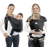 Babytragetuch & Ring Sling 2 in1, Elastisches Baby Tragetuch mit Aluminium-Ringe für Neugeborene. Babytrage & Tragehilfe mit Trageanleitung. Ergobaby BabyBino Wickeltuch das perfekte Geschenk,d.grau