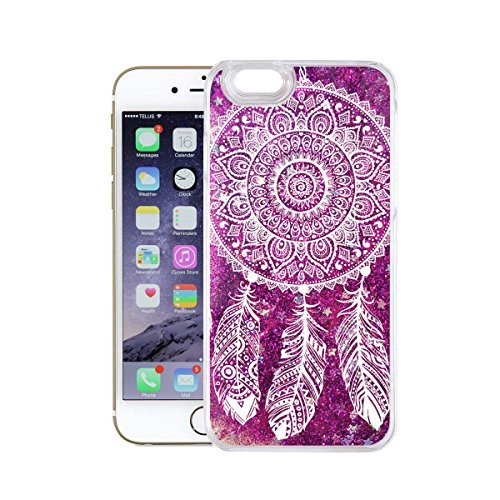 finoo | Iphone 7 Flüssige Liquid Lila Glitzer Bling Bling Handy-Hülle | Rundum Silikon Schutz-hülle + Muster | Weicher TPU Bumper Case Cover | Tweety Happy Dreamcatcher