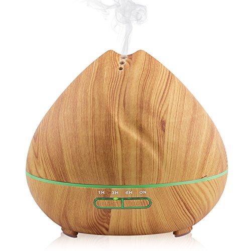 Ätherisches Öl Diffusor 400ml, Holzmaserung, Ultraschall-Luftbefeuchter, Automatische Abschaltung, 7-Farben-LED-Licht für Yoga-Schreibtisch