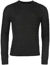 Firetrap Blackseal texturé Knit Pull pour homme Gris anthracite Pull Top