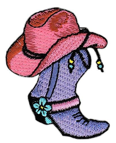 Cowboy Hut Stiefel Aufnäher Bügelbild Größe 6,0 x 4,7 cm (Western Motorrad Stiefel)