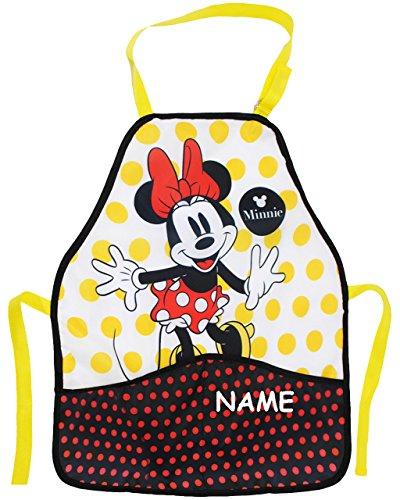 Unbekannt Kinderschürze -  Disney Minnie Mouse  - incl. Name - größenverstellbar & mit 2 Taschen - Schürze / beschichtet & wasserdicht - für Mädchen - Kinder - Backsc.. -