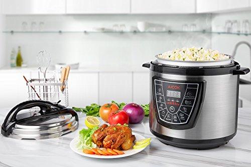 Aicok 7-in-1 Programmierbarer Elektrische Schnellkochtopf , Multikocher,Reiskocher und Dampfgarer Kochtopf , Reiskocher - 7