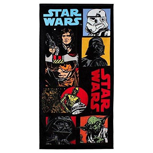 Star Wars Retro Beach Handtuch, Baumwolle, Schwarz, 140cm x 70cm