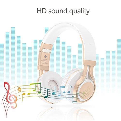 Bluetooth Over-Ear Kopfhörer, EONANT 4 in 1 BT-08 4.0 Bluetooth Wireless Headset Faltbarer Kopfhörer mit Mikrofon mit Mikrofon / FM / TF Karte / AUX für PC TV Smart Phones & Tablets (White-Gold) - 2