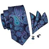 Hi-Tie Hi-Tie clásico juego de seda de color lazo de la boda del pañuelo de las...