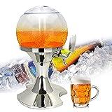AOLVO Bier Tower Spender, 3,5l Kühlung Bier Spender–BPA-frei Fußball Form mit Fach für den Ice Tablett für Getränke, Wein und Fresh Frozen Giraffe Tisch für die Party Silber