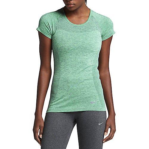 Nike Damen Dri-Fit Knit Short Sleeve Kurzarm Laufoberteil, Hasta/Grünes Glühen, L (Short T-shirt Dri-fit Sleeve)