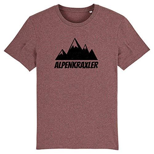 Tirol T-Shirt Herren Alpenkraxler - Bayrisch Trachten Black-Heather-Cranberry-Schwarz L -