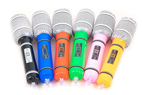 12 x aufblasbare Karaoke Mikrofone von Trendario - Karneval und Party Zubehör Set - mehrfarbig Mikrofon Deko Scherzartikel Gummi Mikrophone (Lustige Aufblasbare Mikrofon)