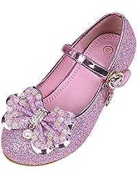 Zhuhaitf Alta calidad Solid color Kids Girls Glitter Princess Dress Single Shoes Wedding Party Low Heels