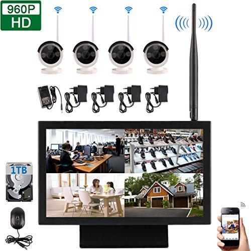 Edssz® aggiornato 4 canali 960p 1.3 megapixel wireless ir-cut visione notturna telecamere ip sistema di telecomando, 10.2