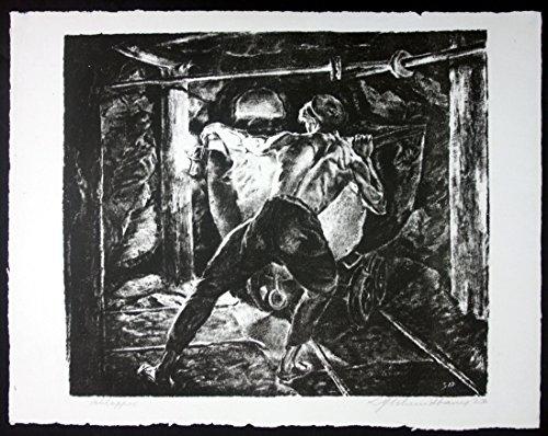 Zürich Bergbau Schlapper Original Lithographie signiert