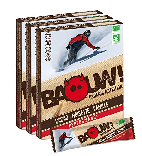 Baouw Organic Nutrition CACAO NOCCIOLE VANIGLIA Barrette nutrizionali & energetiche 100% biologiche durante lo sport o per uno spuntino sano