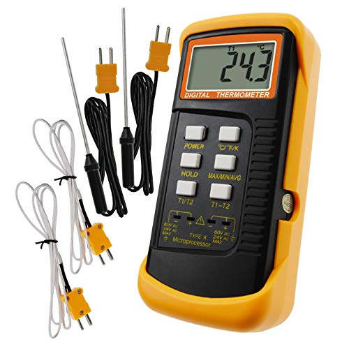 Digital 2 Channels K-Type Thermometer 2 Thermocouples -50~1300°C (-58~2372°F) Handheld High Temperature Kelvin Scale Dual Measurement Meter Sensor Digital Mobility Controller