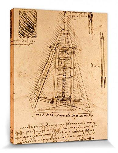 1art1 88356 Leonardo Da Vinci – Zeichnung Einer Bohrmaschine, 1487-1490 Poster Leinwandbild Auf Keilrahmen 50 x 40 cm