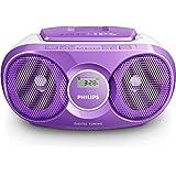 Philips AZ215V Lecteur CD,CD-R,RW Portable, Facile à Utiliser pour Enfants, avec Radio FM, Entrée Audio, Violet et Blanc