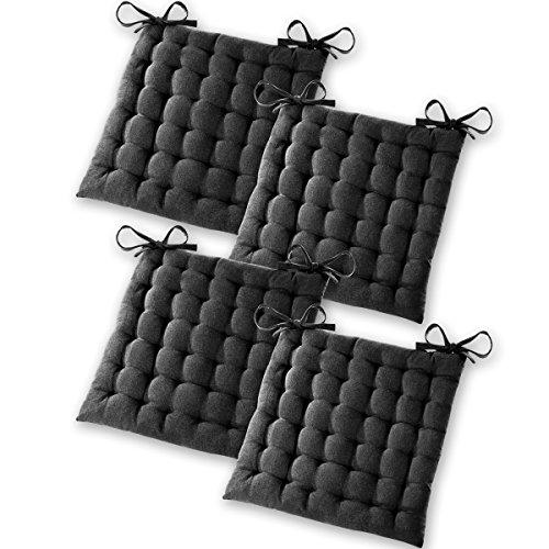 Gräfenstayn® Set de 4 Coussins d'Assise Coussins de Chaise 40x40x5cm pour intérieur et extérieur - 100% Coton - Différents Coloris – Rembourrage épais (Noir)