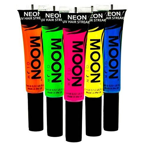 UV-Haar-Farbsträhnchen15mlSet mit 5 Farben-ein spektakulär glühender Effekt bei UV- und Schwarzlicht! ()