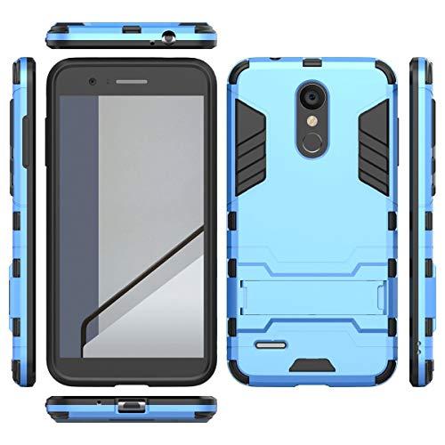 tinyue® Handyhülle für LG K9, Hülle 2 in 1 Material Harte Schwer doppelte kratzfester Handyfall im Freienhandyfall Iron Man Rüstung mit Kickstand Case, Blau -