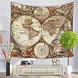 Baisheng Indian Mandala Wandbehang Tapisserie Hippie Wandteppiche Bettwäsche Tagesdecke, Picknick Strand Blatt, Tischdecke, dekorative Wandbehang (Weltkarten-Druckteppich4-59x78 Inch/150x200 cm)