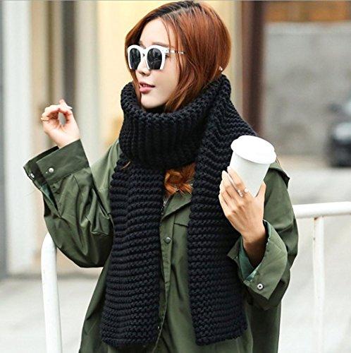 Transer ® Femelle Écharpes,Mode Femmes Solid Couleur Longue Section Écharpe Wave Pattern Foulards Châle Noir