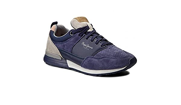 Pepe jeans Baskets Boston Leather Light bleues bleu - Chaussures Baskets basses Homme
