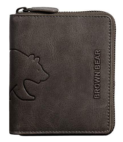 Brown Bear Geldbörse Leder Grau-Braun Vintage Reißverschluss Hochformat mit RFID Schutz hochwertig